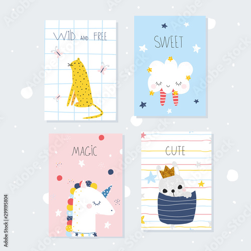 Cute childish cards with animals. Vector hand drawn illustration.  Wall mural