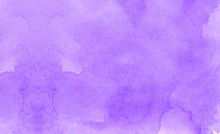 Bright Gentle Purple Abstract Watercolor Illustration For Aquarelle Card Design, Vintage Template. Subtle Light Violet Gradient Water Color Stained Paper Texture Background.