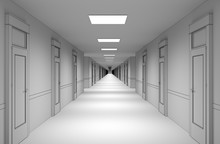 Long Corridor With Doors, Interior Visualization, 3D Illustration