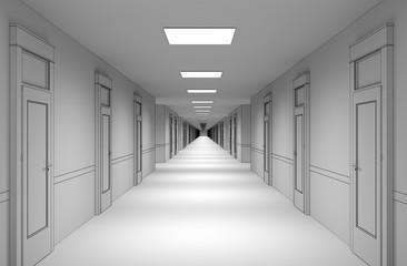 long corridor with doors, interior visualization, 3D illustration