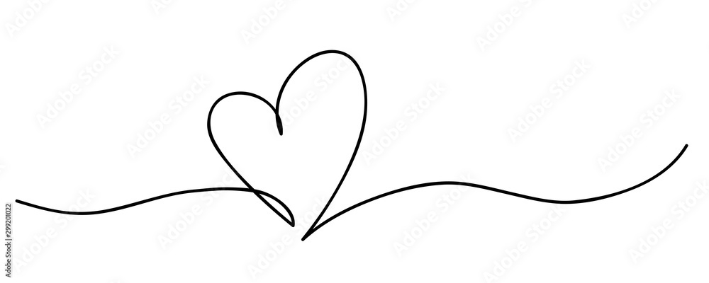 Fototapety, obrazy: Heart. Abstract love symbol. Continuous line art drawing vector illustration