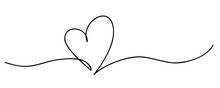 Heart. Abstract Love Symbol. Continuous Line Art Drawing Vector Illustration
