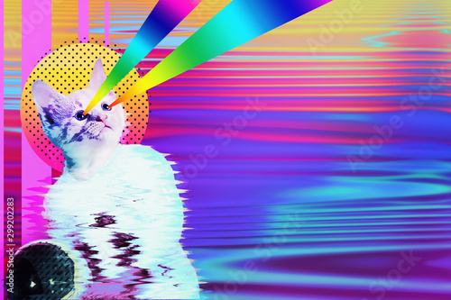 Pop art astronaut cat collage with rainbow rays, trendy contemporary concept design, vibrant vapor wave style background Canvas Print