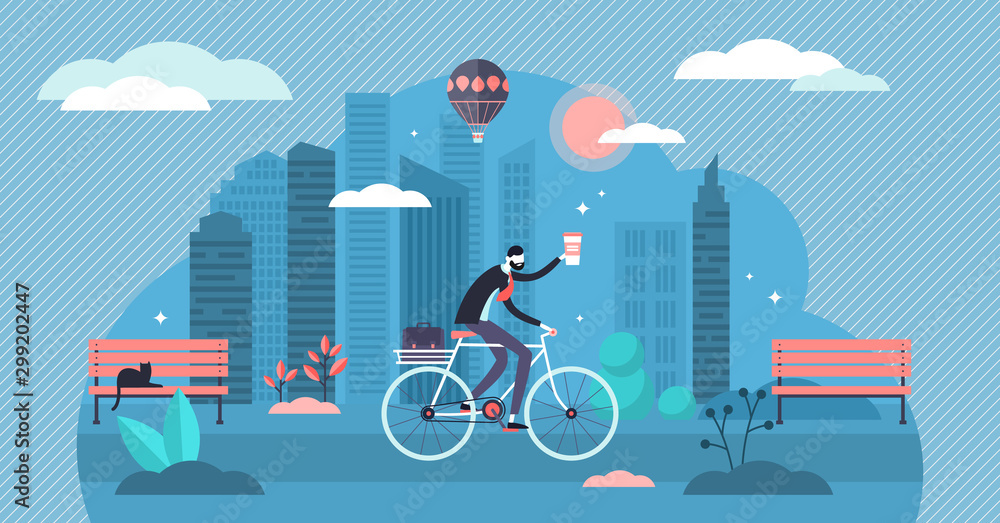 Fototapety, obrazy: Bike ride vector illustration. Flat tiny cycling work route persons concept
