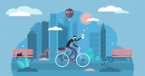Bike ride vector illustration. Flat tiny cycling work route persons concept