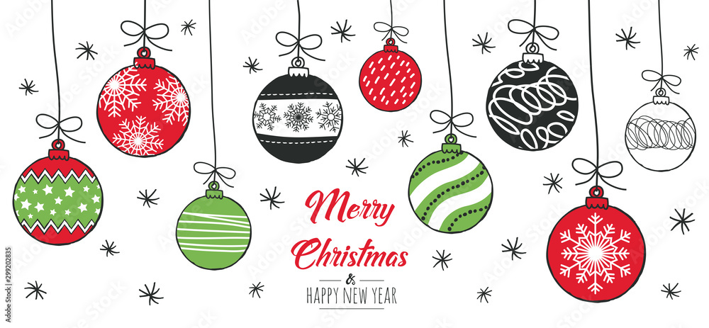 Fototapeta Merry Christmas greeting card red and green with modern baubles. Vector illustration.