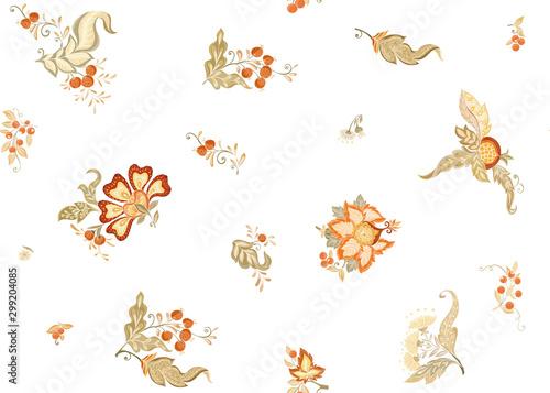 Fantasy floral seamless pattern in jacobean embroidery style, vintage, old, retro style Tapéta, Fotótapéta