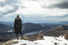 Girl Stood On Mount Snowdon In The Snow Wales United Kingdom