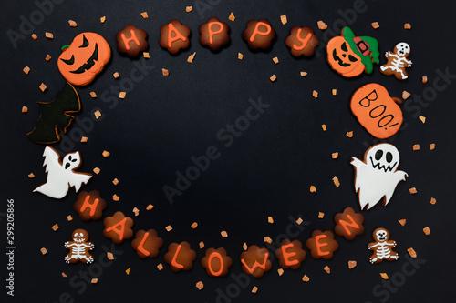 Fotografie, Obraz  The hand-made eatable gingerbread Halloween inscription, pumpkin, ghosts, bat an
