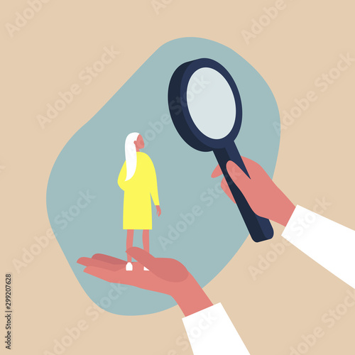 Obraz Looking for employee, HR management metaphor - female character scaled up under a magnifying glass - fototapety do salonu