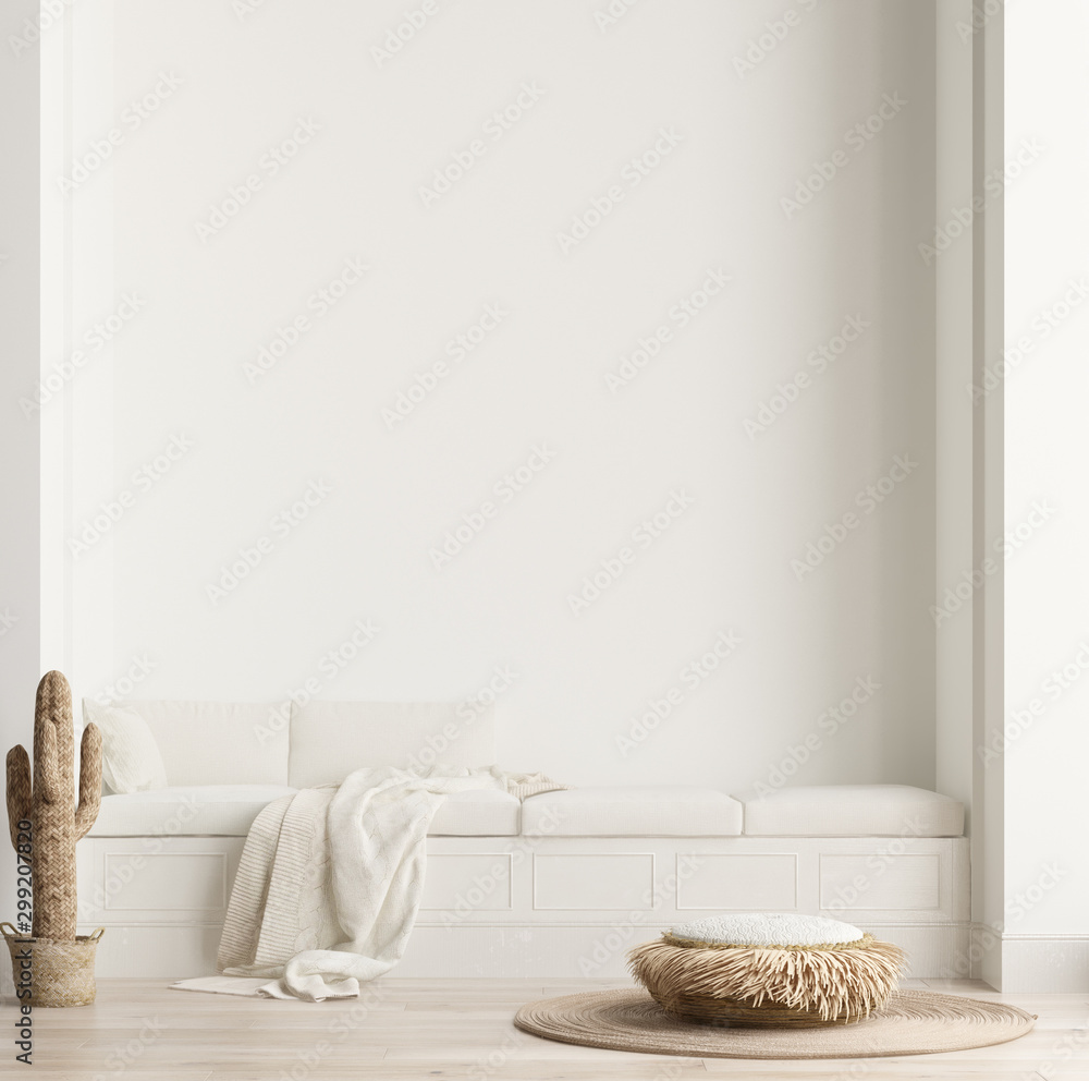 Fototapeta Minimalist modern living room interior background, Scandinavian style, 3D render