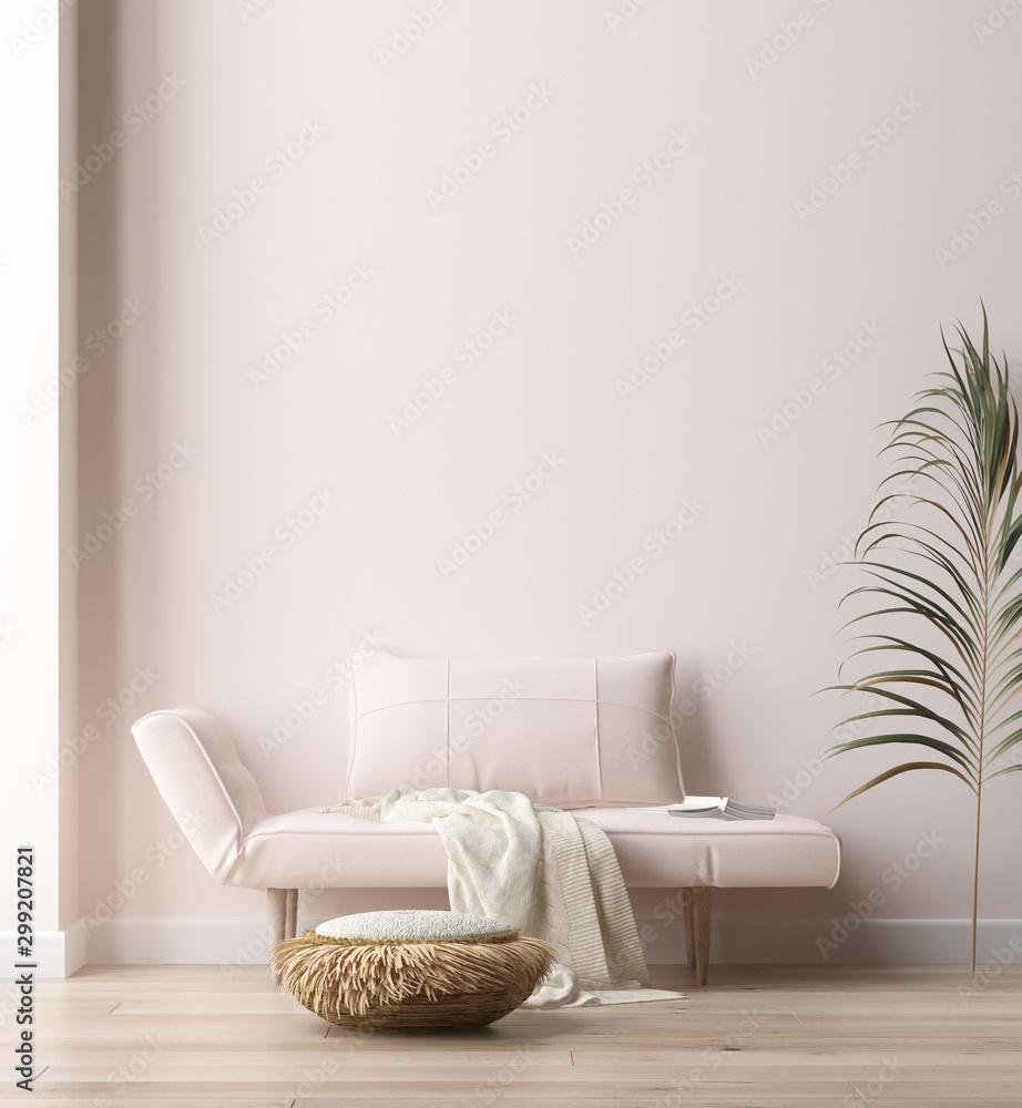 Fototapety, obrazy: Minimalist modern living room interior background, Scandinavian style, 3D render