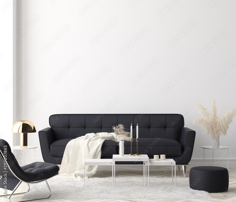Fototapeta Minimalist modern living room interior background, 3D render