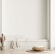 Leinwanddruck Bild - Minimalist modern living room interior background, Scandinavian style, 3D render