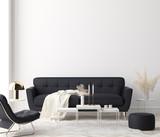 Minimalist modern living room interior background, 3D render