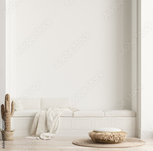 Minimalist modern living room interior background, Scandinavian style, 3D render