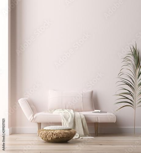Fotografia  Minimalist modern living room interior background, Scandinavian style, 3D render