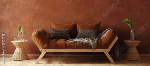 Bohemian style interior background, 3D render Wallpaper Mural