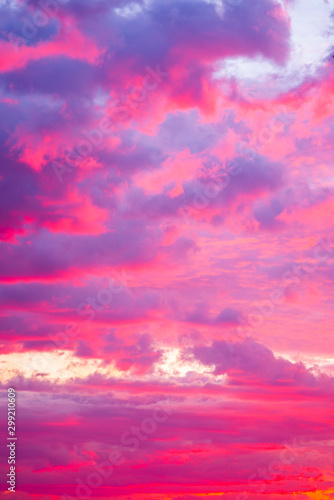 Fotobehang Candy roze Dramatic pink red sunset, cloudwabe formed by high pression, with beautiful tone color red,pink violet, over the sea, magnificent, nature, sunset concept, add your text