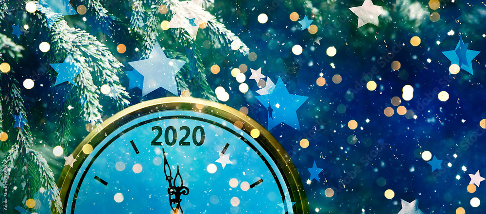 Fototapety, obrazy: Wide Angle Holiday background New Year 2020