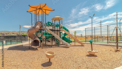 Panorama frame Outdoor playground on sunny day with no people Fototapet