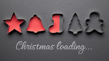 Christmas Loading Background Card With Christmas Cookie Cutters