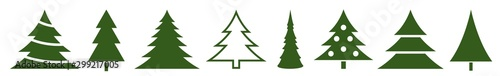 Photo  Christmas Tree Green Icon | Fir Tree Adornment Illustration | x-mas Symbol | Log