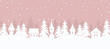 Winter village. Christmas background. Fairy tale winter landscape. Seamless border. There are white houses and fir trees on a pink background. Vector illustration