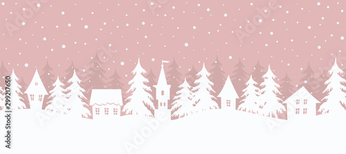 Foto auf Gartenposter Weiß Winter village. Christmas background. Fairy tale winter landscape. Seamless border. There are white houses and fir trees on a pink background. Vector illustration