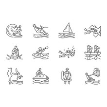Watersports Linear Icons Set. ...