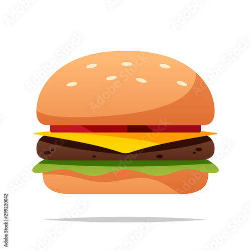 Fototapeta Cartoon burger vector isolated illustration obraz