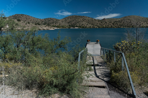 Bill Evans Lake dock in New Mexico. Canvas Print