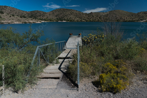 A rustic dock view at Bill Evans lake, New Mexico. фототапет