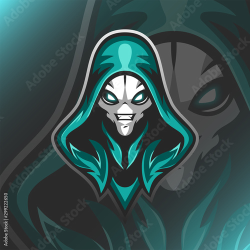 Assasins Alien Logo Mascot Vector Illustration Wallpaper Mural