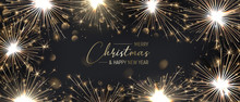 Merry Christmas Background With Golden Sparklers. Happy New Year Poster With Bengal Lights. Realistic Vector.