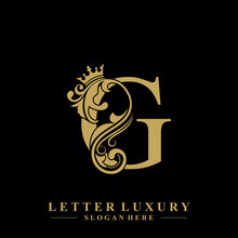 Initial Letter G Luxury Beauty Flourishes Ornament With Crown Logo Template.