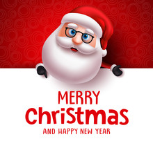 Santa Claus Vector Christmas Greeting Card Template. Santa Claus Character Holding White Board With Christmas Greeting Text For Holiday Season In White With Empty Space For Messages In Red Background.