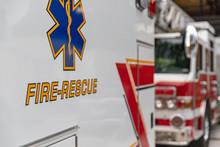 Side View Of An Ambulance Resc...
