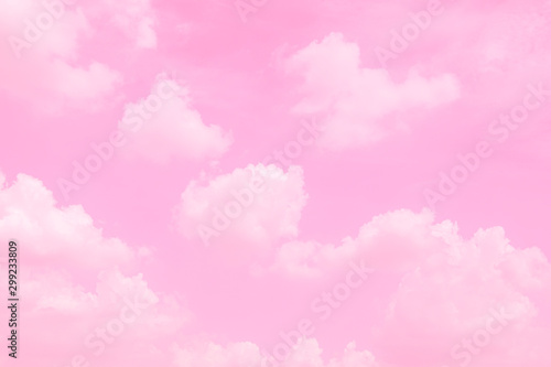 Poster Rose clair / pale Beautiful sky and clouds in soft pastel color.Soft cloud in the sky background colorful pastel pink tone.