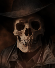 Human Skeleton Wearing A Black Hat And Leather Jacket