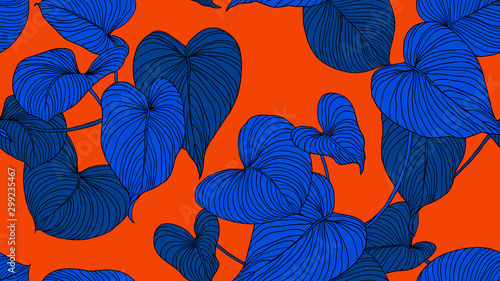 Foliage seamless pattern, leaves line art ink drawing in blue on red
