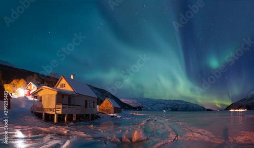 Fotobehang Noorderlicht Northern lights (Aurora borealis) in the sky over Tromso, Norway