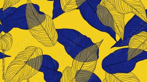 Foliage seamless pattern, leaves line art ink drawing in blue and yellow on yellow