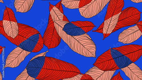 Foliage seamless pattern, leaves line art ink drawing in red on blue