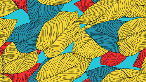 Foliage seamless pattern, leaves line art ink drawing in yellow, blue and red on blue