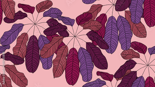 Foliage seamless pattern, leaves line art ink drawing in purple shades on pink