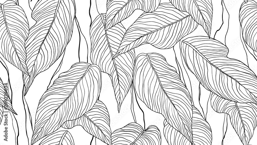 Fototapeta Foliage seamless pattern, leaves line art ink drawing in black and white