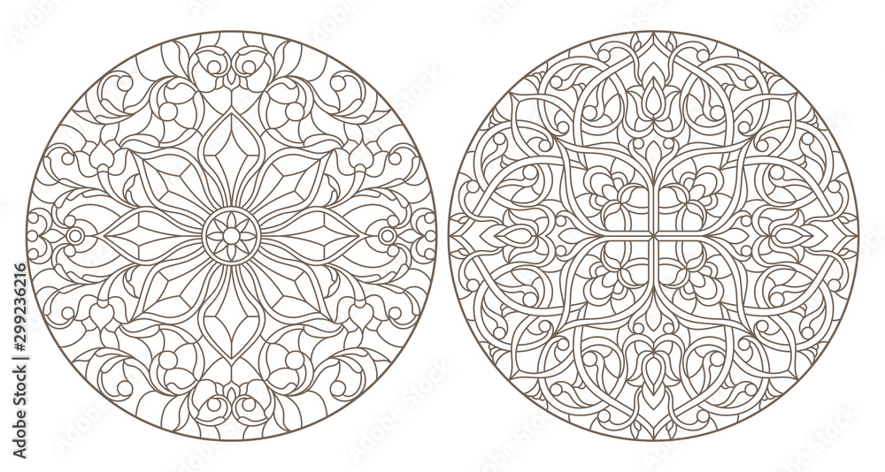 Fototapeta Set contour illustrations of stained glass, round stained glass floral ornaments , dark outline on a white background