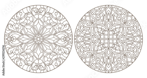 Obraz na plátne Set contour illustrations of stained glass, round stained glass floral ornaments