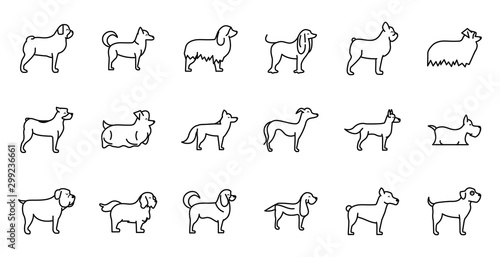 Leinwand Poster set of dogs breed standing icons linear style